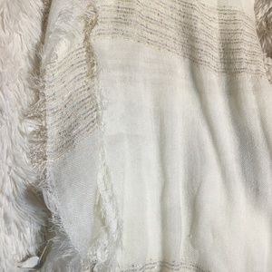 Scarf in Cream with Silver, Gold, Sequins